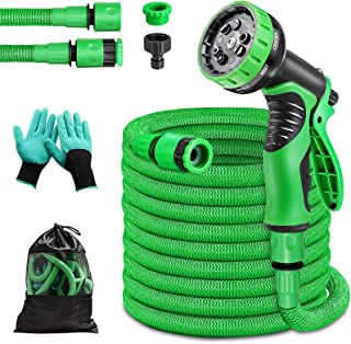 """PATHONOR Garden Hose Expandable 50FT Flexible Anti-Leak Water Hose Pipe with 3/4"""" 1/2"""" Fittings 9 Function Spray for Yard ..."""