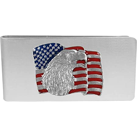 FlameReflection Stainless Steel Personalized Patriotic USA American Flag Stars Men Engravable Credit Card Money Wallet Black or Gray Customizable Money Clip