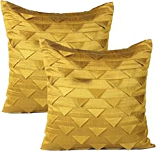 The White Petals Set of 2 Pillow Mustard Yellow, Origami Style, Textured (Solid Mustard Yellow, 20x20 inches)