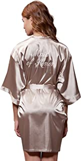 Satin Kimono Rhinestone Maid of Honor Robe