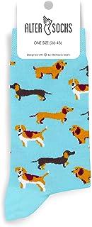 Altersocks, Calcetines unisex de fantasía y coloridos de algodón, diseño de perros, talla única (36 a 45)