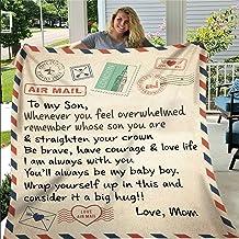 بطانية Allasona Airmail Blanket To My Son Daughter Wife Letter Printed Fleece Blanket Love Gifts Blanket Quilt for Positiv...