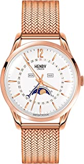 Henry London Unisex Richmond Watch with Analogue Display and Rose Gold Bracelet Strap HL39-LM-0162