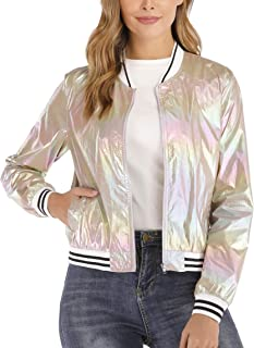Womens Holographic Bomber Jacket Metallic Sparkle Shimmering UV Sun Protection Outerwear Disco Party Lightweight Jacket