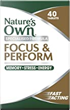 Nature's Own Focus & Perform - Improves Memory - Relieves Stress - Alleviates Fatigue - Assists Energy Production, 40 Capsules