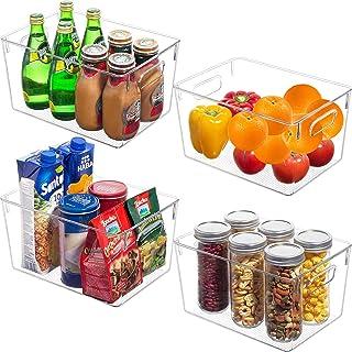 Zabatoco Boîte de Rangement Frigo Organiseur Frigo Transparent Cusine Lot de 4, Boîte Alimentaire en Plastique pour Réfrig...