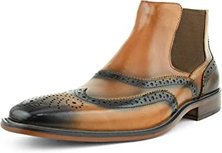 Asher Green Original Mens Double Gore Chelsea Dress Boot Genuine Leather Wingtip, Comfortable Stylish Easy Slip On, Style AG2632