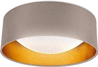 B.K.Licht I Lámpara de techo de tela LED con efecto de cielo estrellado I oro topo I Tablero de LED de 12W I 1.200lm I 4.0...