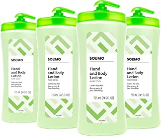 Amazon Brand - Solimo Aloe Cool Hand & Body Lotion, 24.5 Fluid Ounce (Pack of 4)
