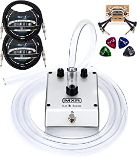 MXR M222 Talk Box with Built-In Amplifier Bundle with Blucoil 2-Pack of 10-FT Mono Instrument Cables, 2-Pack of Pedal Patch Cables, and 4-Pack of Celluloid Guitar Picks
