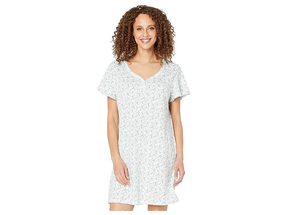Karen Neuburger Fantasia Short Sleeve Nightshirt (Butterfly/Bright White) Women