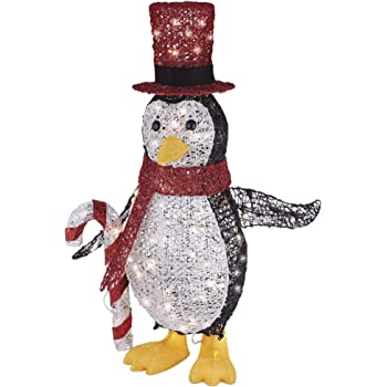 NOMA Pre-Lit Light Up Incandescent Penguin with Red Top Hat   Outdoor Christmas Lawn Decoration   2.75 ft
