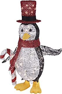 NOMA Pre-Lit Light Up Incandescent Classic Penguin with Red Top Hat | Christmas Holiday Lawn Decoration | Indoor/Outdoor | 100 Count Lights | 2.75' Feet
