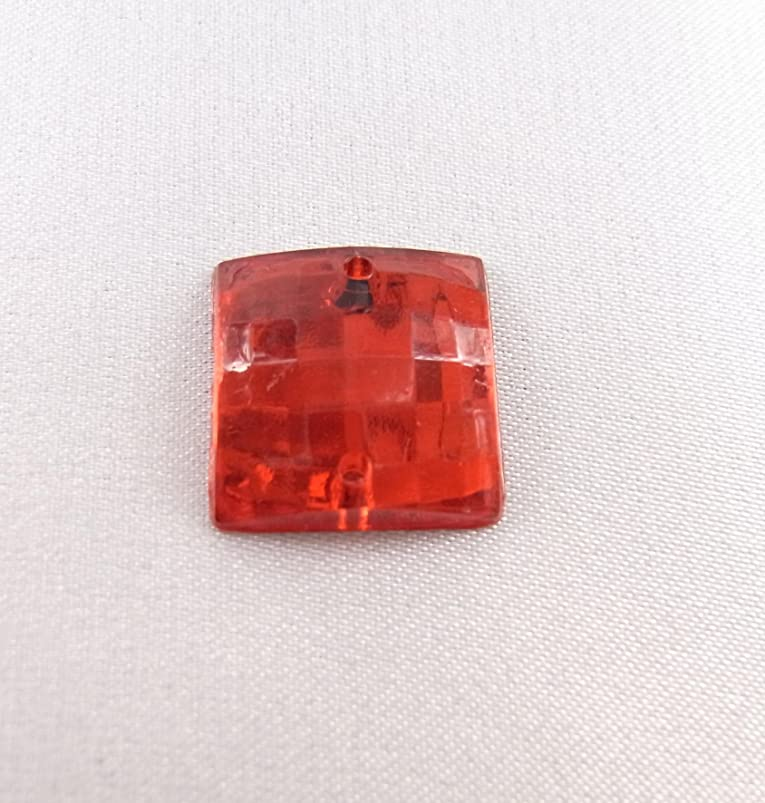 粘土姓平行【アクリルストーン】 ST-sc-RR01 正方形 スクエアカット 14x14㎜ (赤) 30個 アクリルラインストーン