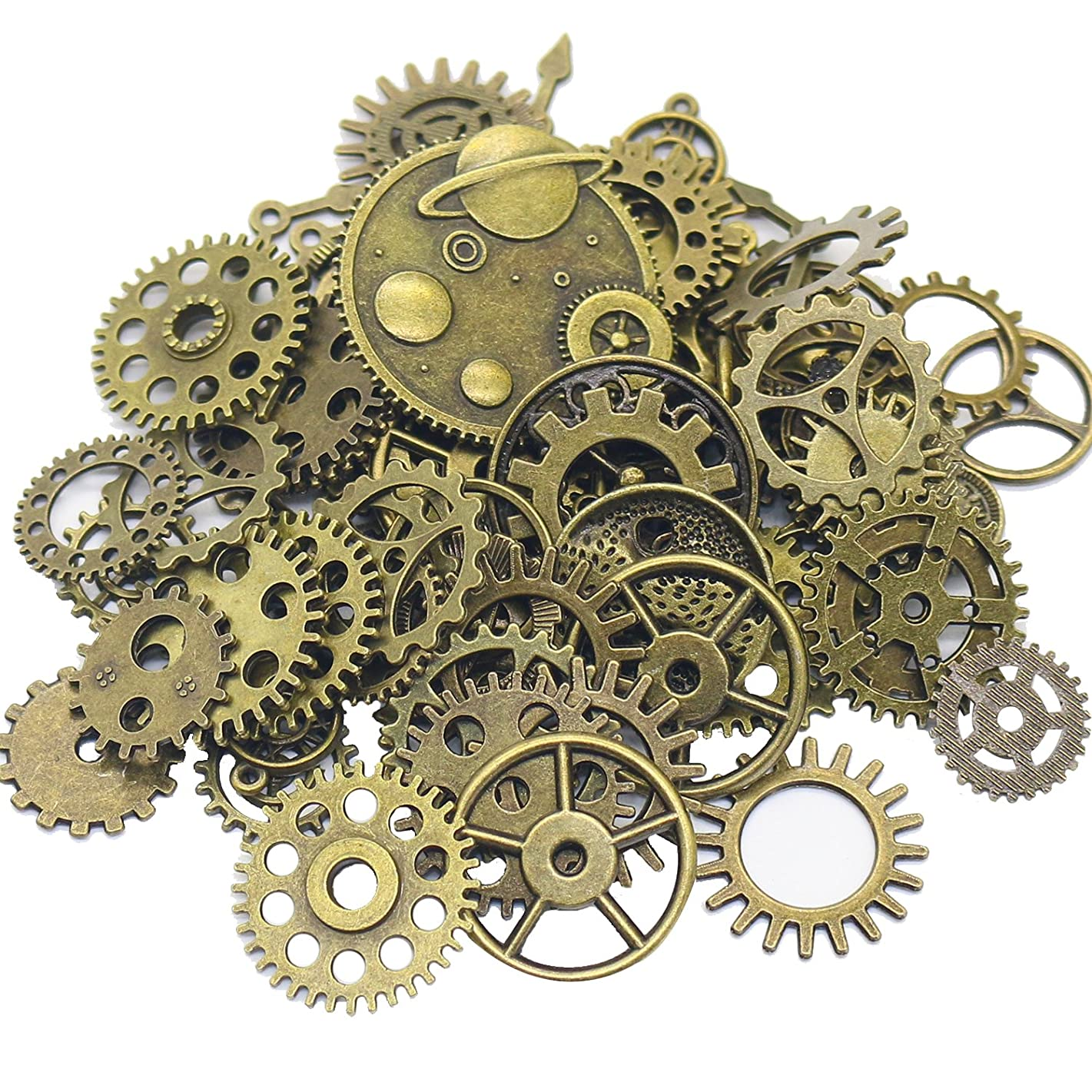 Gutapo 150 Gram Bronze Gear Charms Antiqued Metal Skeleton Retro Steampunk Pendant Watch Wheel Cog Crafting Jewelry Making Accessory Handmade
