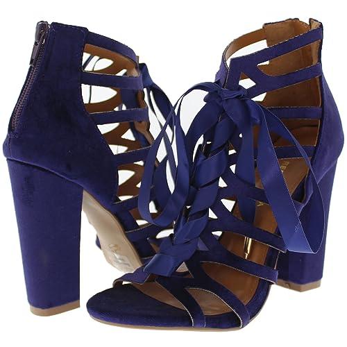 e3cb4797a75 Shoe Republic LA Soft Velvet Lace Up Caged Sandal w Block Heel Sharon