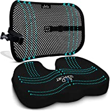 Seat Cushion Back Support Set - Lumbar Support Memory Foam with Orthopedic Design - Sciatica Pain Relief - Cushion for Office Chair, Car Seat, Wheelchair Cushion