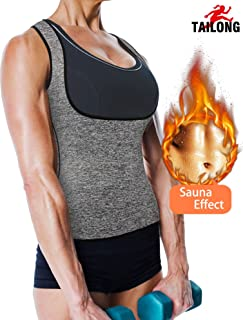 TAILONG Women's Sport Hot Sweat Slimming Neoprene Shirt Vest Body Shapers for Weight Loss No Zipper Gray Sauna Tank Top Shirt