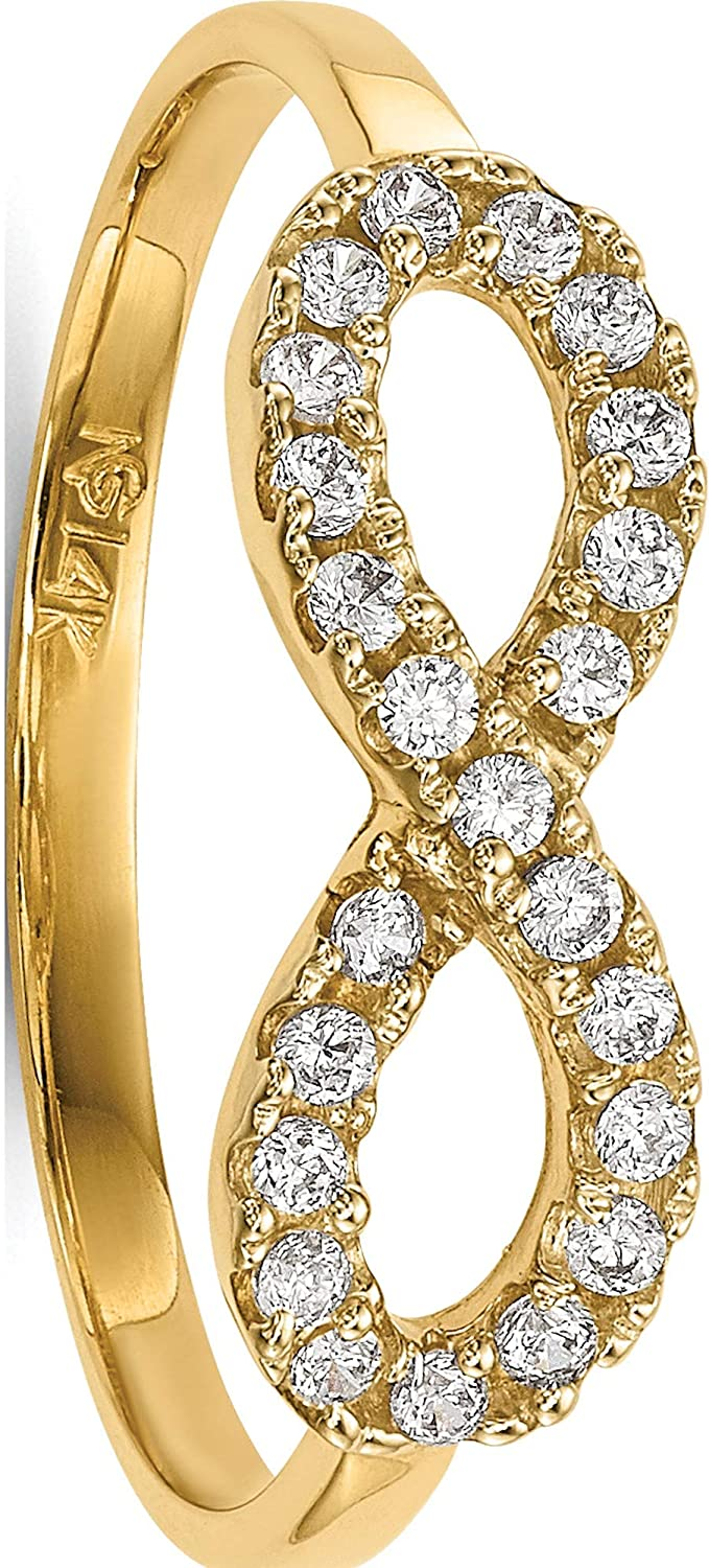 14K Yellow Gold Translated Manufacturer OFFicial shop Cz Infinity Symbol Pea Jewelry By Ring - Sweet