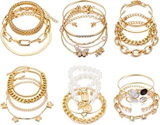 6 قطع (24 قطعة) بوهو سلسلة أساور للنساء، مطلية بالذهب 14 قيراط متعددة الطبقات قابلة للتكديس مفتوحة الكفة قابلة للتعديل راب...