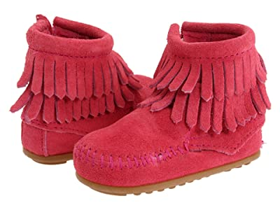 Minnetonka Kids Double Fringe Side Zip Bootie (Infant/Toddler) (Hot Pink Suede) Girls Shoes