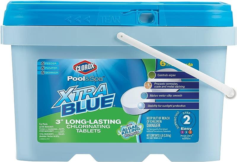 CLOROX Pool Spa XtraBlue 3 Inch Long Lasting Chlorinating Tablets 5 Pound Chlorine