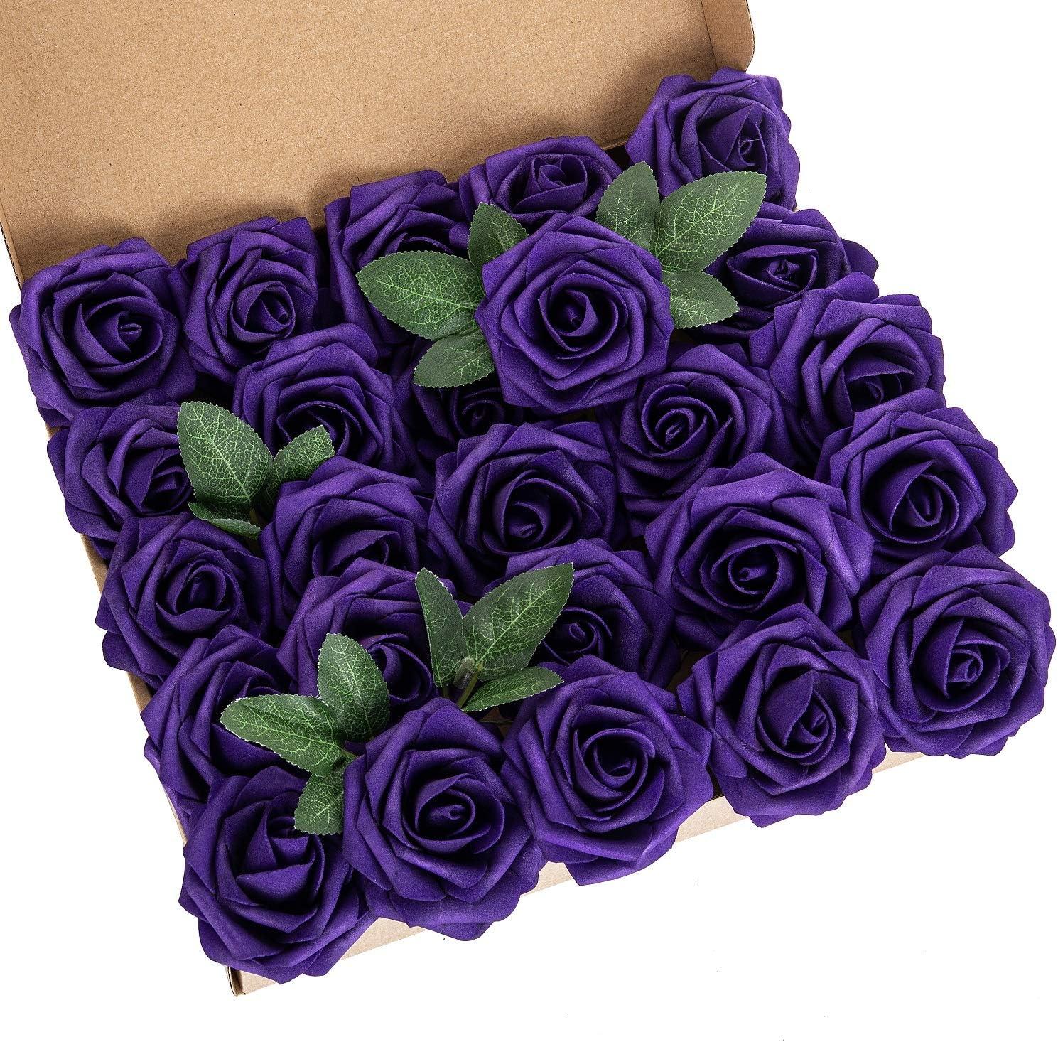 Exoment 25pcs Artificial Flower Genuine Phoenix Mall Foam Rose Real Touch Purple