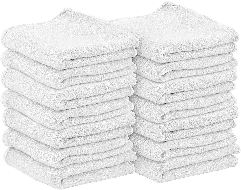 ブランデー放散する野なUtopia Towels 自動車修理工ショップタオル {100枚パック 33.02 X 33.02Cm (13 X 13インチ)} 業務用 洗濯機洗い可 コットンハンドタオル 糸くずの出ない白いショップラグ ? 自動車修理作業とバーモップに最適 Utopia Towel ホワイト
