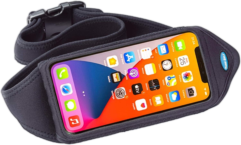 Tune Belt Running Waist Belt Phone Pouch for iPhone 12/13, 12/13 Pro, 12/13 mini, 11 Pro, SE 2020, X/XS, Galaxy S10/S20, S10e, Note 10 (Black)