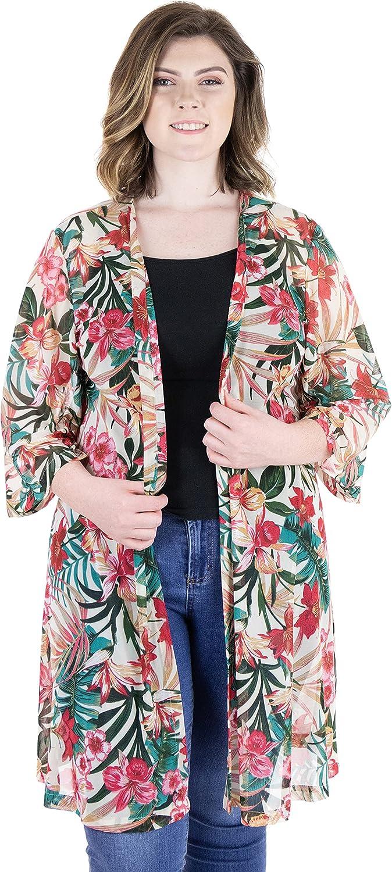 24seven Comfort Apparel Plus Size Sheer Open Front Tropical Kimono