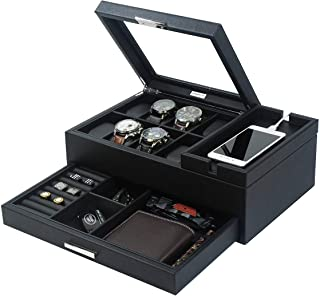 Lifomenz Co Mens Jewelry Box Valet Tray with Drawer and Charging Station Organizer,Nightstand Organizer for Men Jewelry Tr...