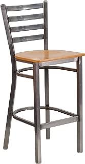 Flash Furniture HERCULES Series Clear Coated Ladder Back Metal Restaurant Barstool - Natural Wood Seat