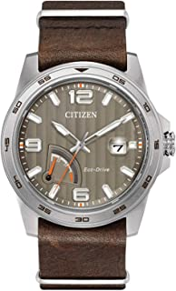 Eco Drive J850 PRT Water Proof Stainless Steel Watch, Brown Leather