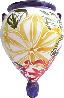 Cactus Canyon Ceramics Spanish Hand-Painted Orza Wall Flower Planter, Flor