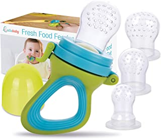Fresh Food & Fruit Feeding Pacifier – 3 Different Sized Silicone Teething Pacifiers | Great Baby Nibbler Food Feeder Teether | Baby Feeding Teething Toys Set | Mesh Feeder Teethers Teething Toy | Baby