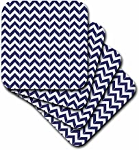 3dRose Navy Blue and White Chevron Herringbone - Soft Coasters, Set of 4 (CST_212474_1)