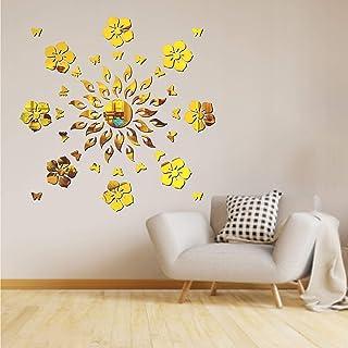Best Decor Sun Flame 8 Flower with 20 Butterfly Golden Code 511 Acrylic Mirror 3D Wall Sticker Decoration for Kids Room/Li...