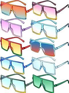 10 أزواج من نظارات شمسية مربعة كبيرة الحجم للأطفال من سن 3-10 سنوات