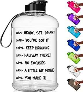 HydroMATE Half Gallon 64 oz Motivational Water Bottle with Time Marker Large BPA Free Jug with Handle Reusable Leak Proof Bottle Time Marked to Drink More Hydro MATE