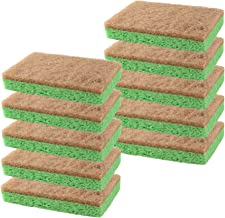 Natural Plant-Based Scrub Sponge by Scrub-it, Non-Scratch, Biodegradable scrubbing sponges for Kitchen and Bathroom – Pack of 10