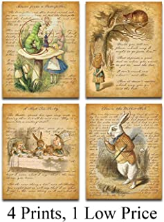 Alice In Wonderland - Set of Four Prints (8x10) Unframed - Makes a Great Gift Under $20 for Home Decor
