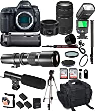 Canon EOS 5D Mark IV with 50mm f/1.8 STM Prime + Canon 75-300 III Lens + 500mm Telephoto + 128GB Memory + Pro Battery Bundle + Power Grip + TTL Speed Light + Pro Filters,(25pc Bundle)