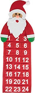 Clever Creations Christmas 24 Day Hanging Cloth Advent Calendar   Red Santa Claus Christmas Design   Traditional Holiday Christmas Decor Theme   Perfect for Home or Office   Measures 22