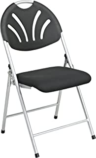 Office Star Ventilated Plastic Fan Back Folding Chair with Padded Mesh Seat and Silver Frame, 4-Pack, Black