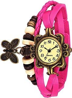 Watzo Analogue Yellow Dial Leather Dori Butterfly Strap Women's Watch