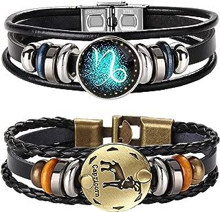 FIBO STEEL 2pcs 12 Zodiac Constellation Bracelets Braided Leather Bracelet Retro Hand Woven Punk Chain Cuff