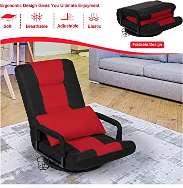 STHOUYN 360-Degree Swivel Gaming Recliner Floor Chair Video Game Chair Armrest, Comfy 6-Position Foldable Adjustable Backrest