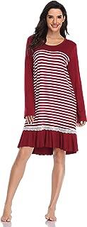 Nightgowns for Women, Modal Long Sleeve Sleep Dress Striped Sleepshirt Sleepwear Loungewear