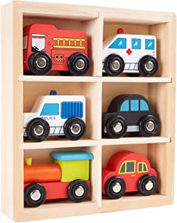 Wooden Car PlaySet-6-Piece Mini Toy Vehicle Set with Cars, Police and Fire Trucks, Train-Pretend Play Fun for Preschool Boys and Girls