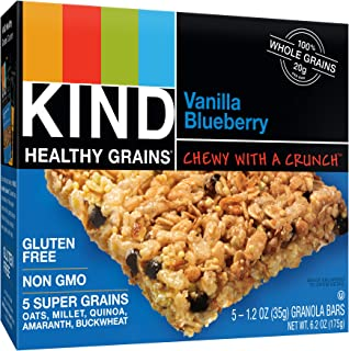 KIND Healthy Grains Bars, Vanilla Blueberry, Non GMO, Gluten Free, 1.2oz, 5 Count (Pack of 3)